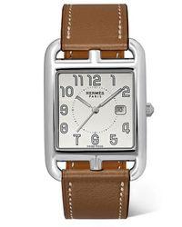 Hermès Cape Cod 29 Mm Große Uhr Aus Edelstahl Mit Lederarmband - Mettallic
