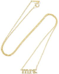 Jennifer Meyer - Mrs 18-karat Gold Diamond Necklace - Lyst