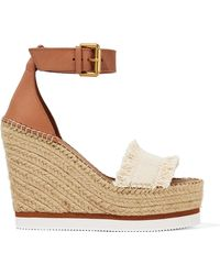 See By Chloé - Canvas And Leather Espadrille Wedge Sandals - Lyst