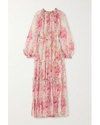 Needle & Thread Ruby Bloom Ruffled Floral-print Fil Coupé Chiffon Gown - Pink