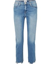 FRAME - Le High Cropped Frayed Straight-leg Jeans - Lyst