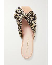 Loeffler Randall Daphne Bow-embellished Leopard-print Plissé-lamé Slides - Multicolour