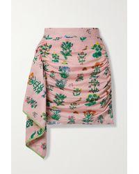 RHODE Hannah Draped Ruched Printed Cotton Mini Skirt - Pink