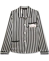 Morgan Lane - + Amanda Fatherazi Mini Mask Ruthie Appliquéd Striped Silk-charmeuse Pajama Top - Lyst