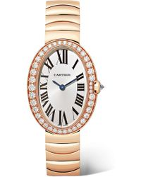 Cartier - Baignoire 24.5mm Small 18-karat Pink Gold And Diamond Watch - Lyst