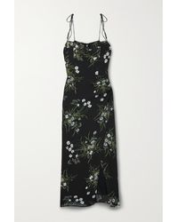Reformation Kourtney Floral-print Georgette Midi Dress - Black