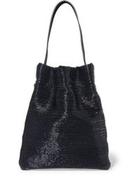 Tl-180 Fazzoletto Ribbed Patent-leather Shoulder Bag - Blue