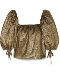 Saint Laurent - Metallic Silk-blend Jacquard Top - Lyst