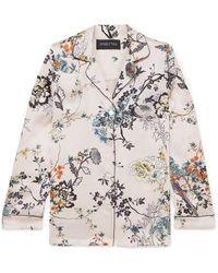 Meng Floral-print Silk-satin Pyjama Shirt - Pink