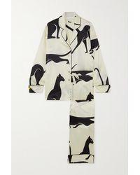Olivia Von Halle Lila Pyjama Aus Bedrucktem Crêpe De Chine Aus Seide - Weiß