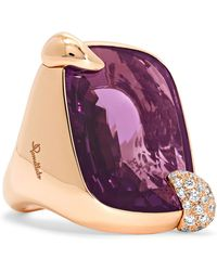 Pomellato - Ritratto 18-karat Rose Gold, Amethyst And Diamond Ring - Lyst