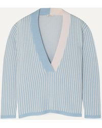 Morgan Lane Eddy Striped Cashmere Jumper - Blue