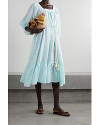 Lisa Marie Fernandez + Net Sustain Laure Belted Linen And Cotton-blend Seersucker Midi Dress - Blue