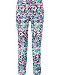 Emilio Pucci - Cropped Printed Cotton-blend Faille Slim-leg Pants - Lyst