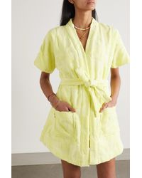 Lucy Folk Sol Belted Cotton-terry Robe - Yellow