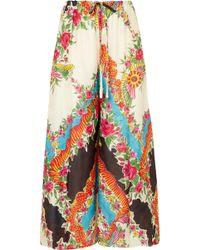 Gucci - Floral-print Satin-jacquard Wide-leg Pants - Lyst