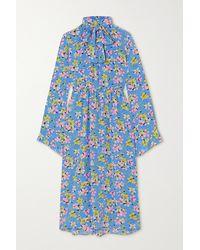 Les Rêveries Pussy-bow Floral-print Silk-crepe Midi Dress - Blue