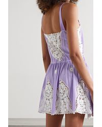 Miguelina Brielle Crochet-trimmed Cotton Mini Dress - Purple