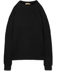 Michael Kors - Cold-shoulder Ribbed-knit Sweater - Lyst