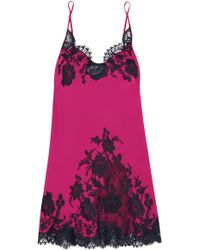 I.D Sarrieri - Nights In Venice Lace-trimmed Silk-blend Chemise - Lyst