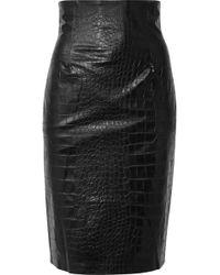 Nanushka - Ania Croc-effect Vegan Faux Leather Pencil Skirt - Lyst