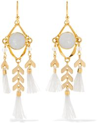 Chan Luu | Tasselled Gold-tone Stone Earrings | Lyst