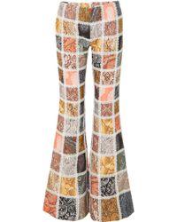 437fe8e9d0 Zimmermann - Lace-trimmed Patchwork Linen Flared Pants - Lyst