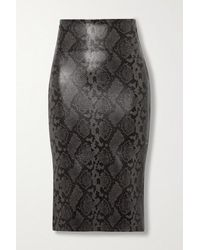 Commando Stretch Faux Snake-effect Leather Skirt - Black