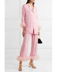 Sleeper Arlekino Pyjama Aus Crêpe De Chine Mit Rüschen Aus Chiffon - Pink