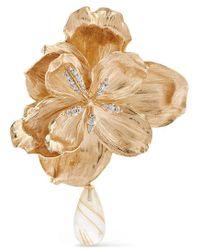 Ole Lynggaard Copenhagen Wild Rose Ohrclip Aus 18 Karat Gold Mit Diamanten Und Quarz - Mettallic