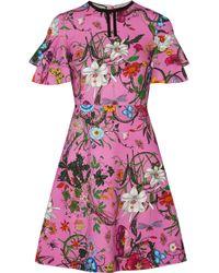 Gucci - Ruffled Printed Stretch-jersey Mini Dress - Lyst