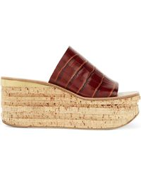 Chloé - Camille Croc-effect Leather Wedge Sandals - Lyst