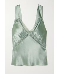 Reformation Vendome Lace-trimmed Silk-charmeuse Top - Green