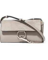 Chloé Faye Mini Leather And Suede Shoulder Bag - Gray