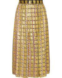 Temperley London - Pleated Printed Fil Coupé Chiffon Skirt - Lyst