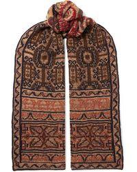 Etro Intarsia Wool-blend Scarf - Red
