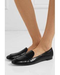 Aquazzura Purist Glossed Croc-effect Leather Loafers - Black