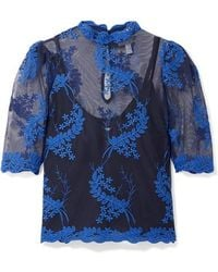 Alice McCALL Honeymoon Embroidered Tulle Top - Blue