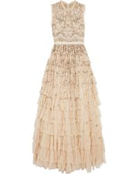Needle & Thread - Pearlescent Tiered Embellished Tulle Gown - Lyst