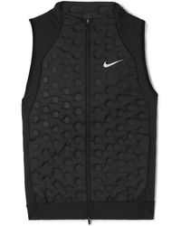 Nike Aeroloft Printed Quilted Shell Down And Stretch-jersey Vest - Black