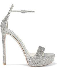 Rene Caovilla Celebrita Crystal-embellished Satin Platform Sandals - Metallic