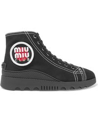 Miu Miu - Appliquéd Canvas High-top Sneakers - Lyst