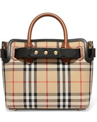 Burberry - Leather-trimmed Checked Coated-canvas Tote - Lyst