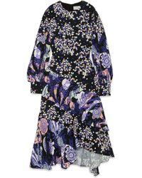 Peter Pilotto - Asymmetric Printed Silk Midi Dress - Lyst
