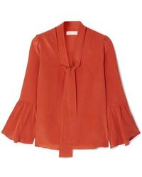 MICHAEL Michael Kors Pussy-bow Silk-crepe Blouse - Red