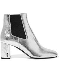Saint Laurent - Loulou Metallic Textured-leather Ankle Boots - Lyst