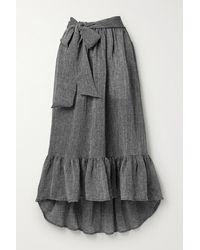 Lisa Marie Fernandez + Net Sustain Nicole Ruffled Checked Linen-blend Gauze Skirt - Black