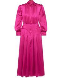 Alessandra Rich - Pleated Silk-satin Midi Dress - Lyst
