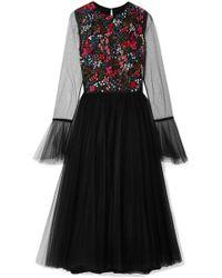 Carolina Herrera - Embellished Stretch-tulle Midi Dress - Lyst