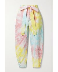 LoveShackFancy Pantalon Fuselé Raccourci En Serge De Coton Mélangé Tie & Dye À Ceinture Tao - Jaune